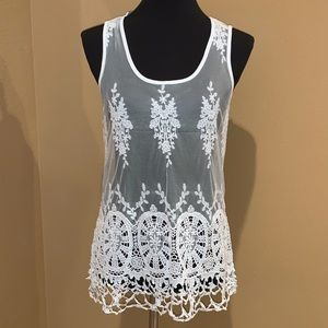 Stunning INC Crochet Lace Tank Top